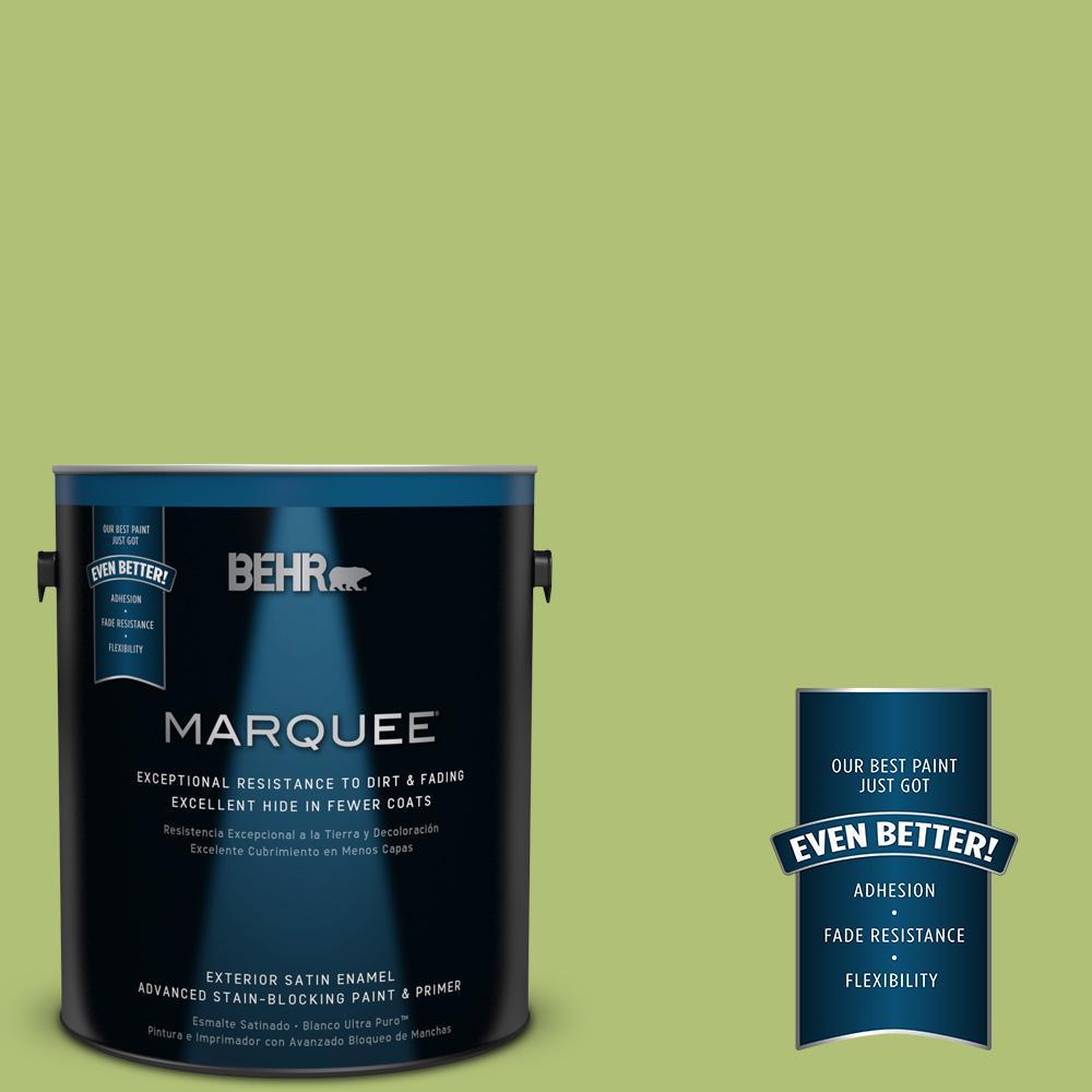 1-gal. #HDC-SM14-5 Lavish Lime Satin Enamel Exterior Paint