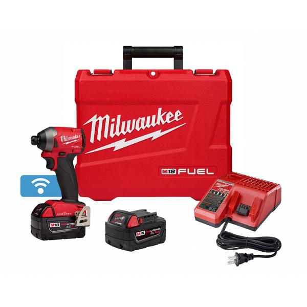 M18 FUEL ONE-KEY 18-Volt Lithium-Ion Brushless Cordless 1/4 in. Hex Impact Driver Kit with(2) 5.0Ah Batteries, Hard Case