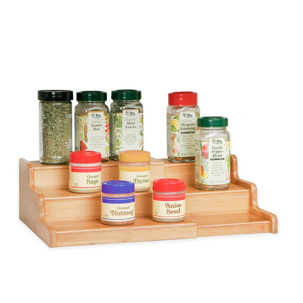 Seville Classics Bamboo Expandable 3 Tier Spice Rack Step Shelf Cabinet Organizer Bmb17040 The Home Depot