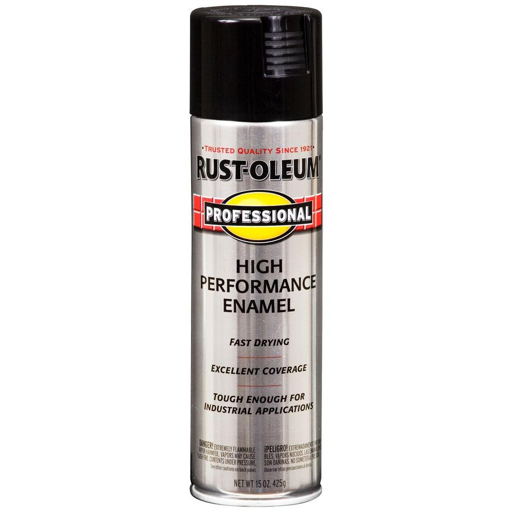 Rust Oleum Professional 15 Oz High Performance Enamel Gloss Black Spray Paint 7579838 The Home Depot
