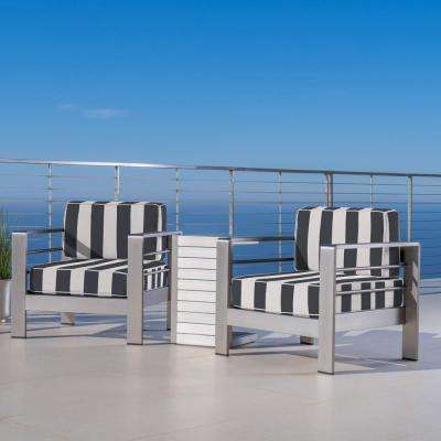 Cape Coral Silver 3-Piece Metal Patio Conversation Set with Black and White Sunbrella Cushions