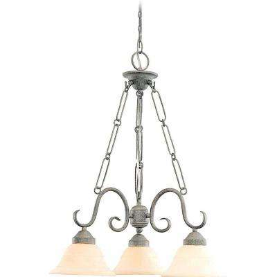 Lenor 3-Light Platinum Rust Incandescent Ceiling Chandelier