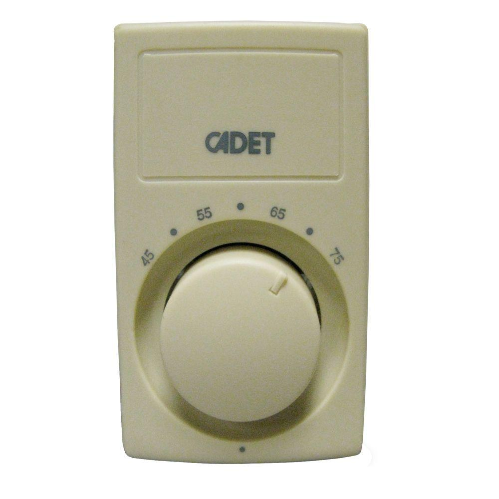 Cadet C600 Series Anticipating Ivory Bimetal Single-Pole 25 Amp Wall Thermostat