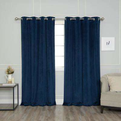 Navy 96 in. L Room Darkening Luster Velvet Grommet Curtain Panel