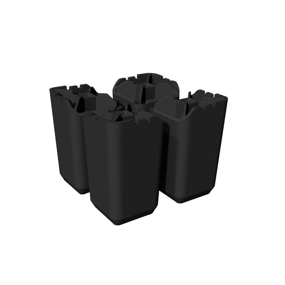 1.72 in. x 6.09 in. Black Storage Cube Legs (4-Pack)