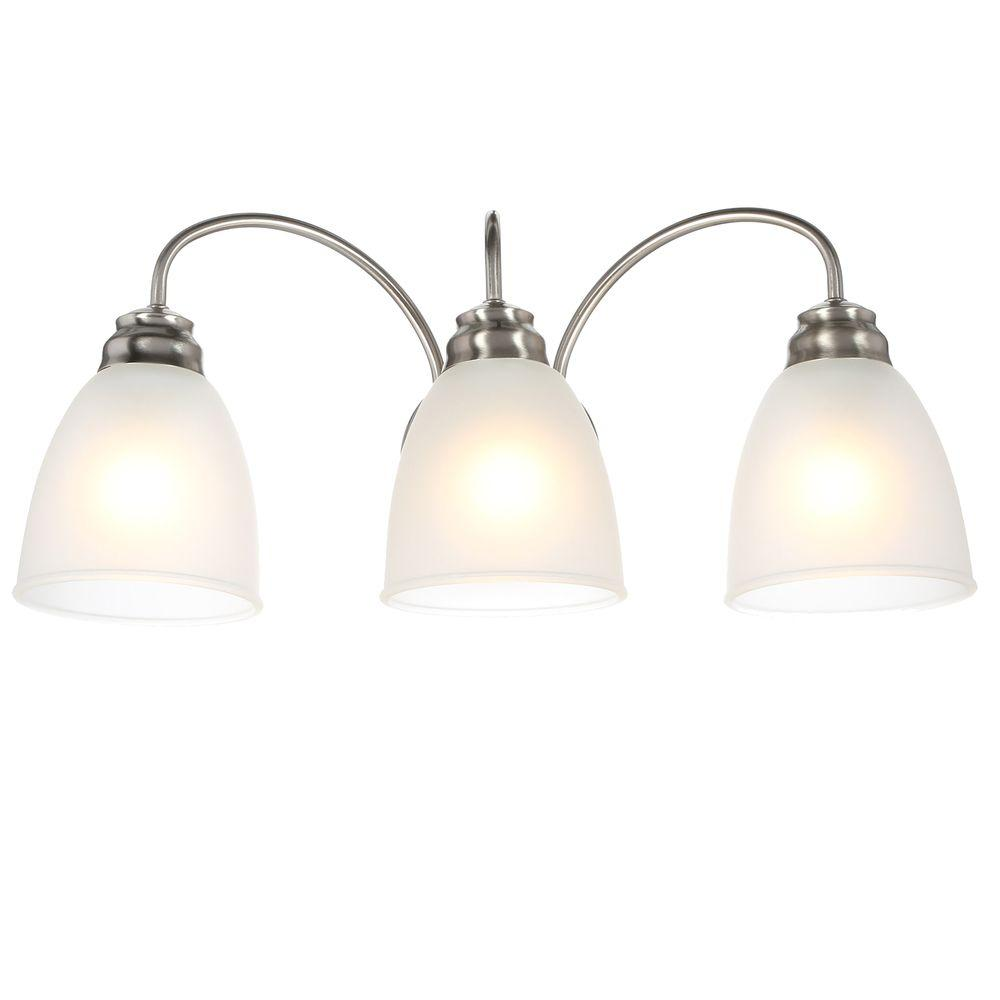 Commercial Electric 3 Light Brushed Nickel Vanity Light With Frosted Glass  Shades