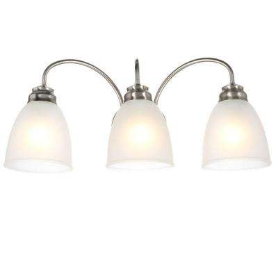 3-Light Brushed Nickel Vanity Light with Frosted Glass Shades
