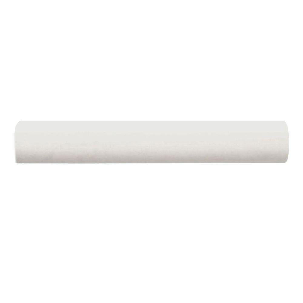 Daltile Semi-Gloss 1 in. x 6 in. White Ceramic Quarter Round Trim Wall Tile-DISCONTINUED