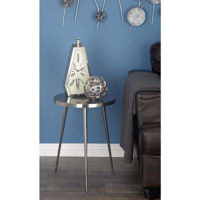 Dark Nickel Accent Table in Silver