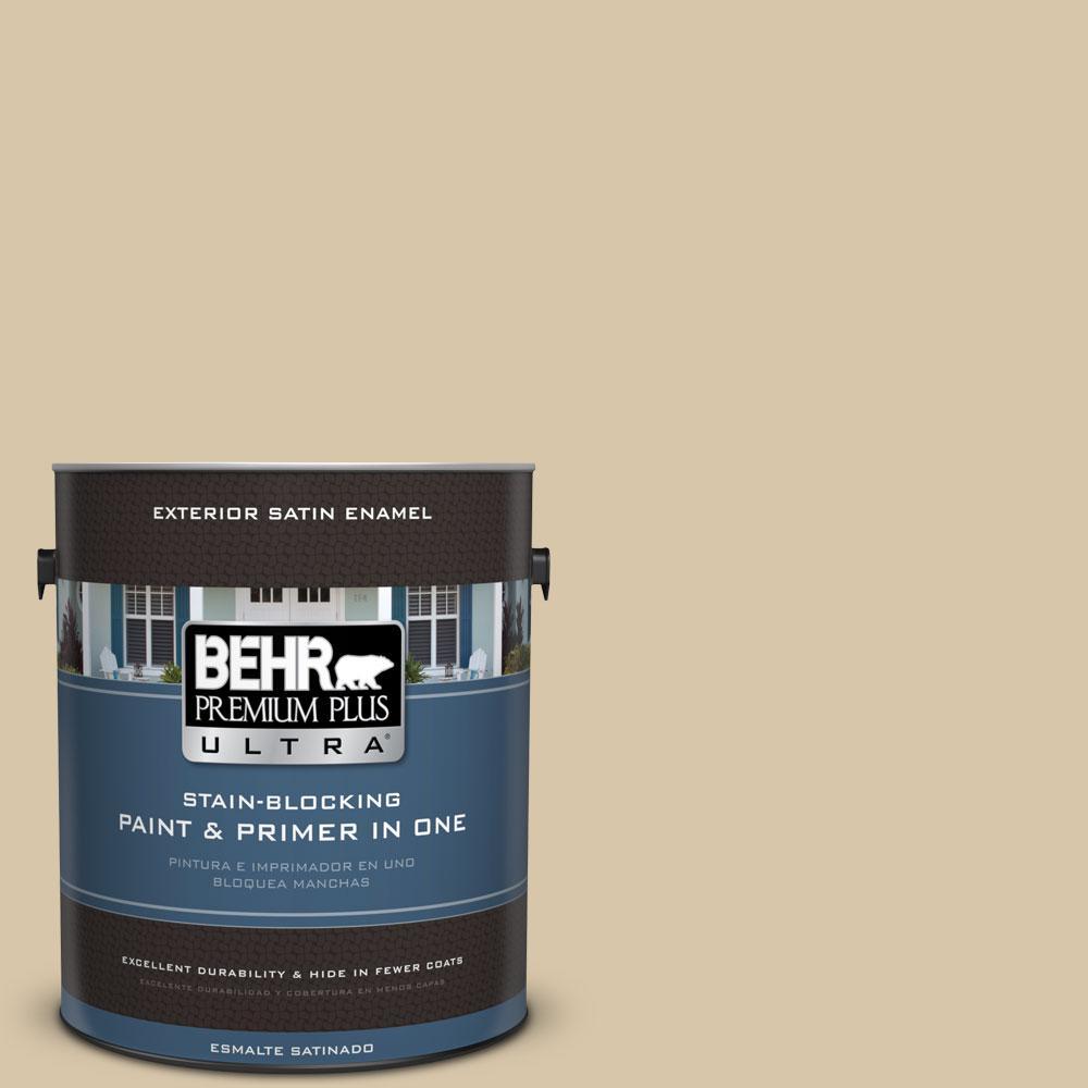 BEHR Premium Plus Ultra 1-gal. #ECC-54-1 New Khaki Satin Enamel Exterior Paint