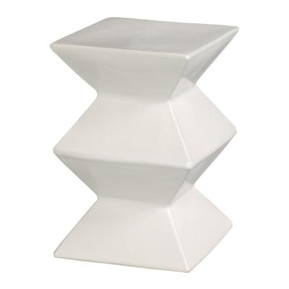 Zigzag White Ceramic Garden Stool