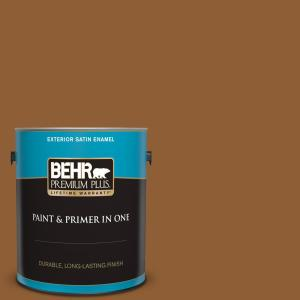 Behr Premium Plus 1 Gal S250 7 Moroccan Spice Satin Enamel Exterior Paint And Primer In One 934001 The Home Depot