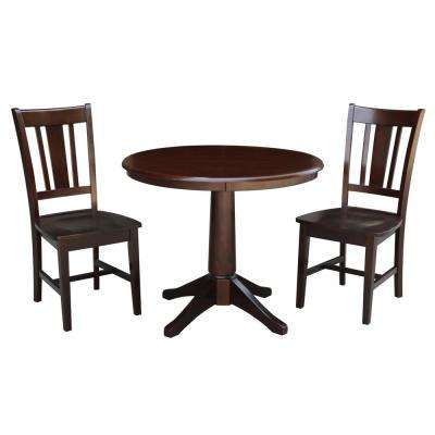 36 in. Solid Wood 3-Piece Mocha Dining Set