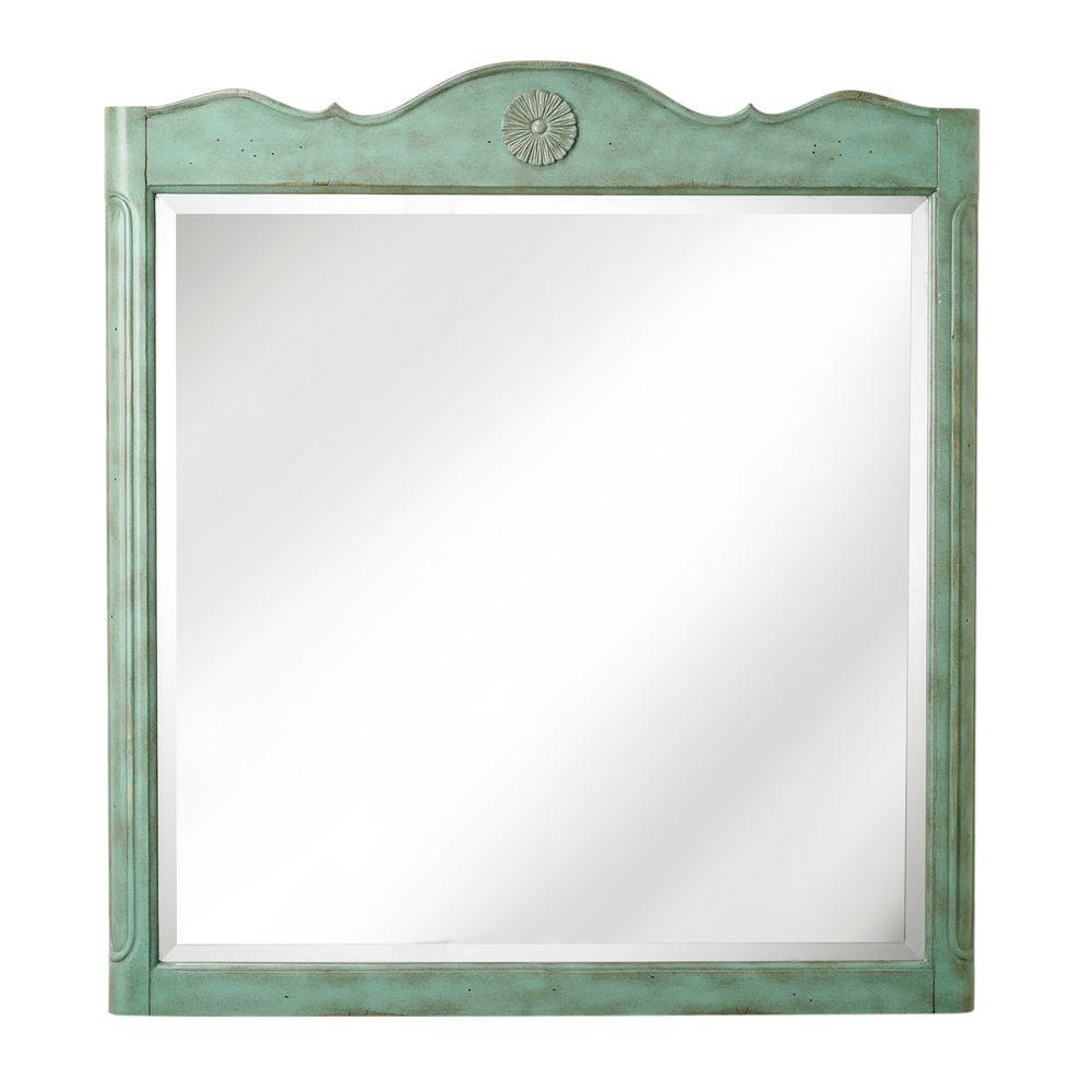 Home Decorators Collection Keys 33 in. W x 36 in. H Bath Mirror in Aqua Marine Frame