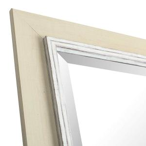 43 25 In H X 31 W White Wash Hand Stained Wood Frame With Liner Beveled Mirror Inner 24 36