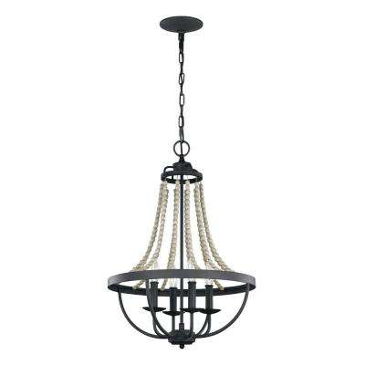 Nori 4-Light Dark Weathered Zinc and Driftwood Grey Chandelier