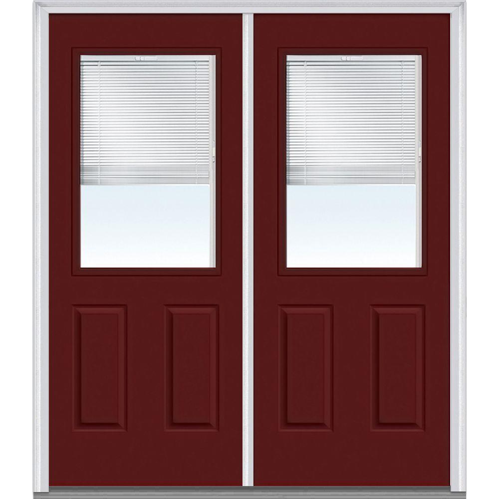 72 in. x 80 in. Internal Blinds Left-Hand 1/2 Lite 2-Panel Classic Painted Steel Prehung Front Door
