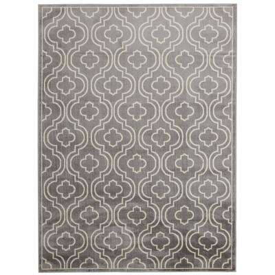 Jasmin Collection Grey and Ivory 5 ft. 3 in. x 7 ft. 3 in. Moroccan Trellis Area Rug