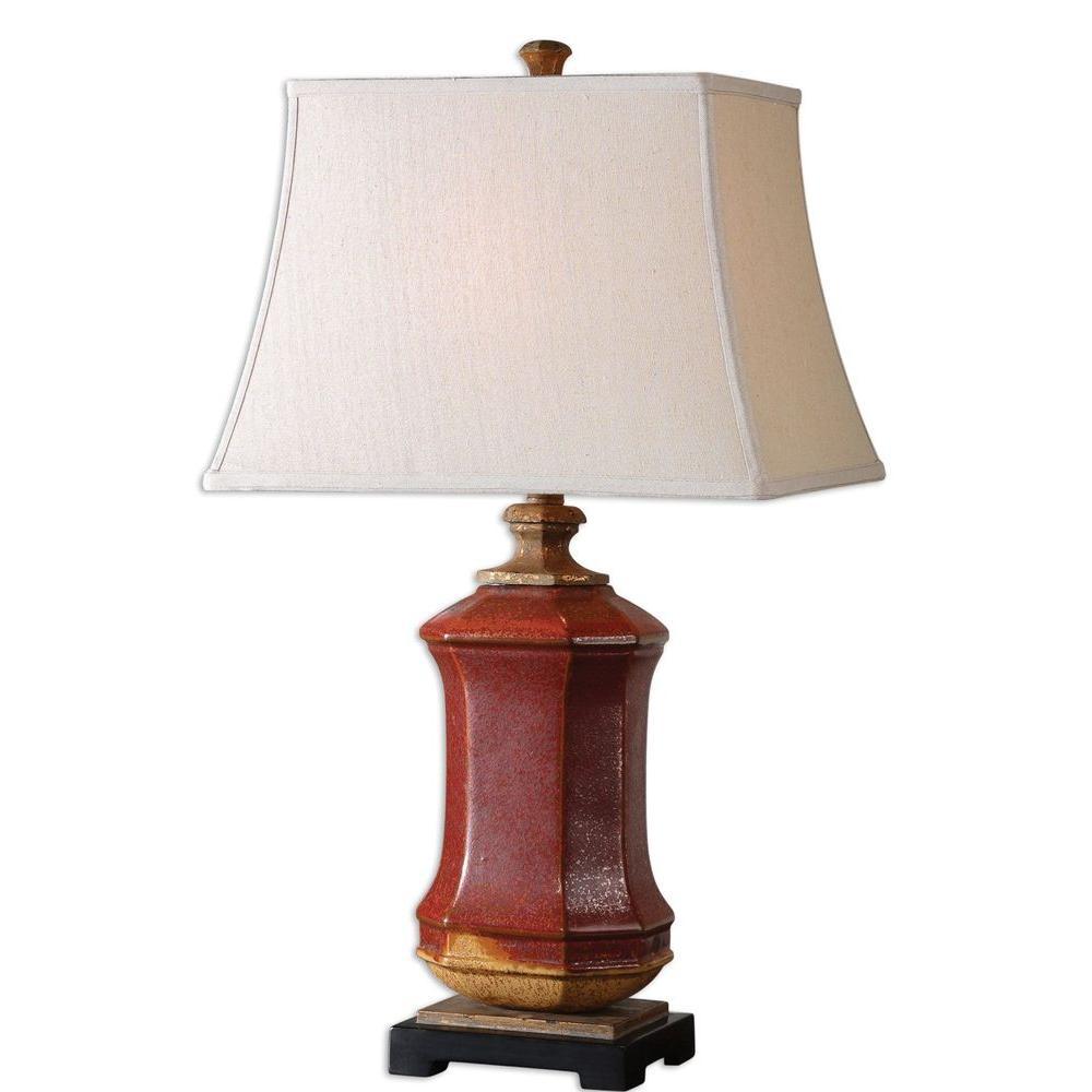 Global Direct 28 in. Red Ceramic Table Lamp