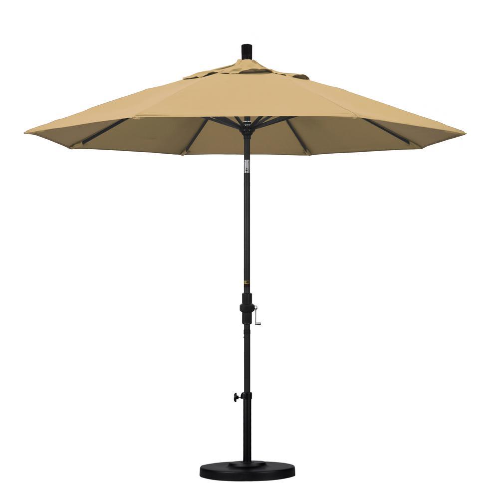9 ft. Aluminum Collar Tilt Patio Umbrella in Champagne Olefin