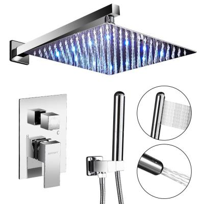 2-Handle 2-Spray of Rain LED 10 in. Shower Head System Shower Faucet and Handheld Shower Kit in Chrome (Valve Included)