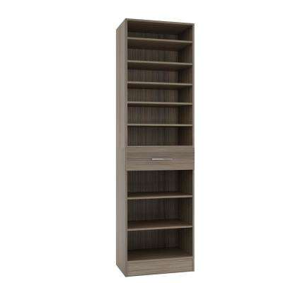 15 in. D x 24 in. W x 84 in. H Calabria Platinum Melamine with 9-Shelves and Drawer Closet System Kit