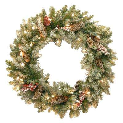 Dunhill Fir 24 in. Artificial Wreath with Clear Lights