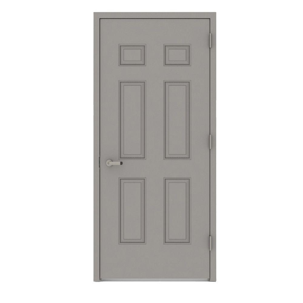 32 in. x 80 in. Gray Left-Hand 6-Panel Entrance Fire Proof