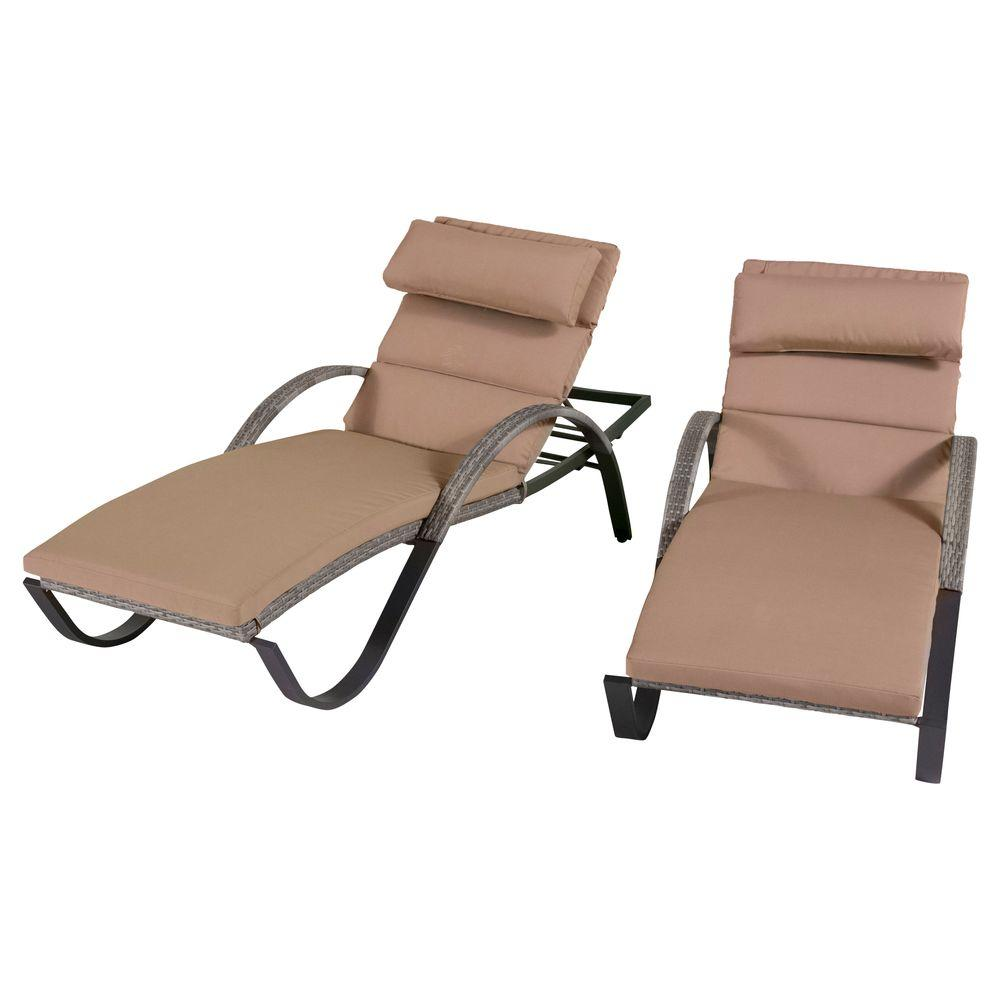 Cannes Patio Lounger with Delano Beige Cushion (2-Pack)