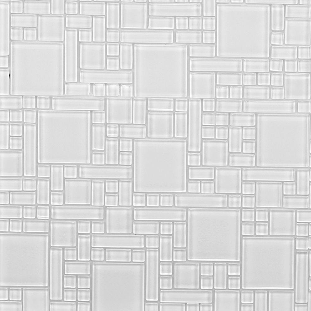 Instant Mosaic Peel And Stick Pure White 12 In X 12 In X 6 Mm Glass Mosaic Wall Tile Ekb 04 103 The Home Depot