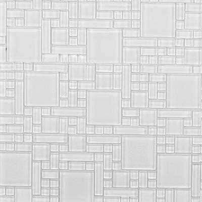 Peel and Stick Pure White 12 in. x 12 in. x 6 mm Glass Mosaic Wall Tile