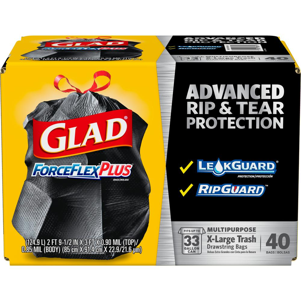 Glad 33 Gal Forceflex Drawstring Outdoor Bags 40 Count