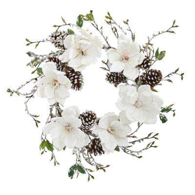 24 in. Snowed Magnolia and Pine Cone Wreath