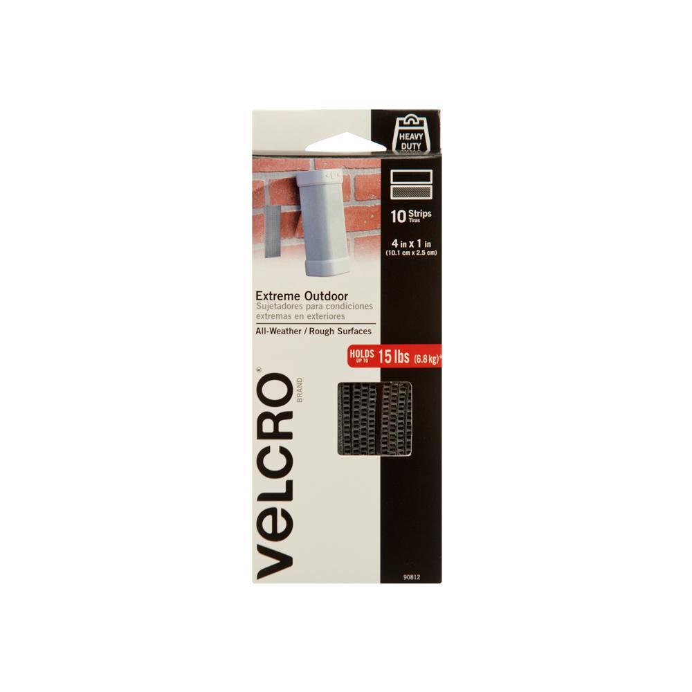 Velcro Brand 4 In X 1 In Titanium Strips 10 Pack 90812