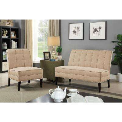 Deandra Beige Transitional Style Bench
