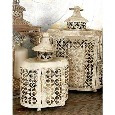 New Traditional Beige Clover and Lattice Metal Candle Lanterns (Set of 2)