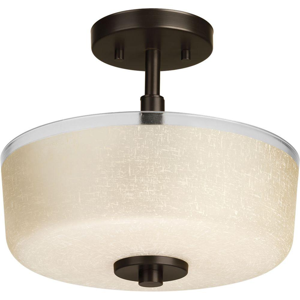 Progress Lighting Alexa Collection 2 Light Brushed Nickel Semi Flushmount P2851 09 The Home Depot