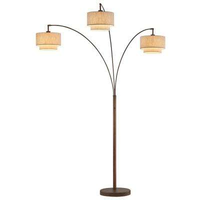 Lumiere III 80 in. Antique Bronze LED Arc Floor Lamp/Double Shade