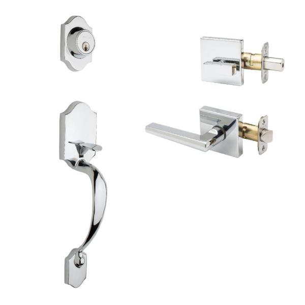 Heritage Polished Stainless Door Handleset and Verona Lever Trim