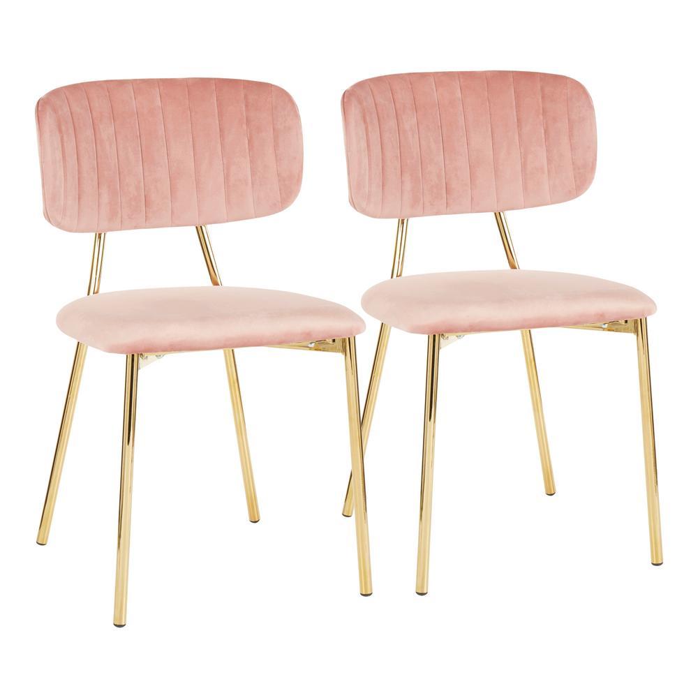 Amazing Lumisource Bouton Gold And Pink Velvet Dining Chair Set Of Uwap Interior Chair Design Uwaporg