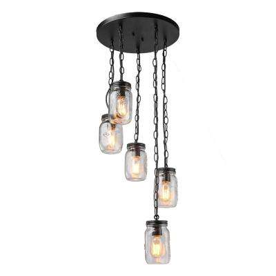 5-Light Bronze Mason Jars Chandelier