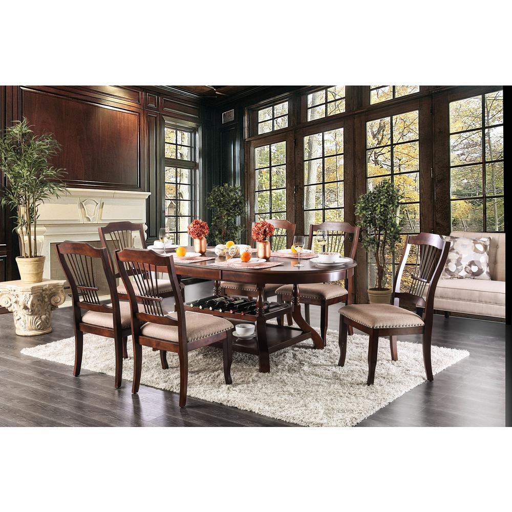 Williams home furnishing jordyn brown cherry transitional style dining table cm3626t the home depot