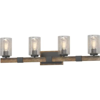 4-Light Indoor Black Walnut Bath or Vanity Light Bar or Wall Mount with Clear Seedy Bubble Glass Cylinder Shades