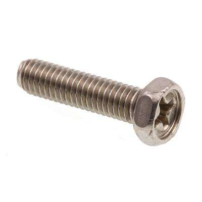#10-32 x 3/4 in. Grade 18-8 Stainless Steel Phillips Drive Indented Hex Head Machine Screws (25-Pack)