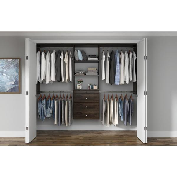 Ultimate 60 in. W - 96 in. W Espresso Wood Closet System