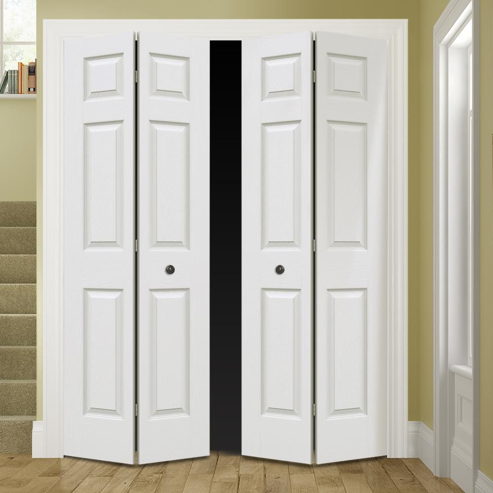 Jeld Wen 60 In X 80 In Colonist Primed Textured Molded Composite Mdf Closet Bi Fold Double Door