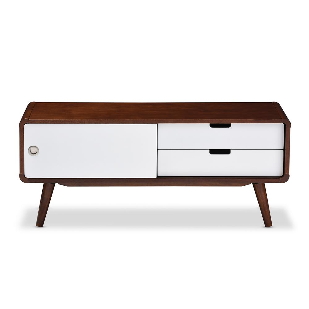 Baxton Studio Armani White And Medium Brown Wood Finished Wood Tv