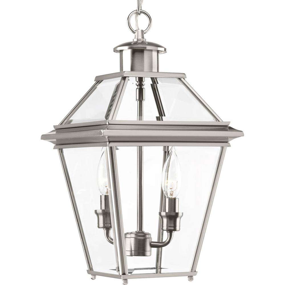 Progress Lighting Burlington Collection 2 Light Outdoor Brushed Nickel Hanging Lantern