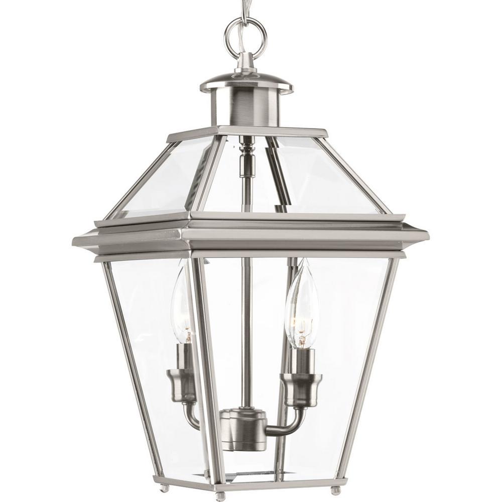 Burlington Collection 2-Light Outdoor Brushed Nickel Hanging Lantern