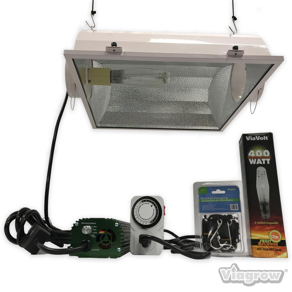 ViaVolt 400 Watt HPS/MH White Grow Light System with Timer/Remote Ballast and Air Cooled Reflector
